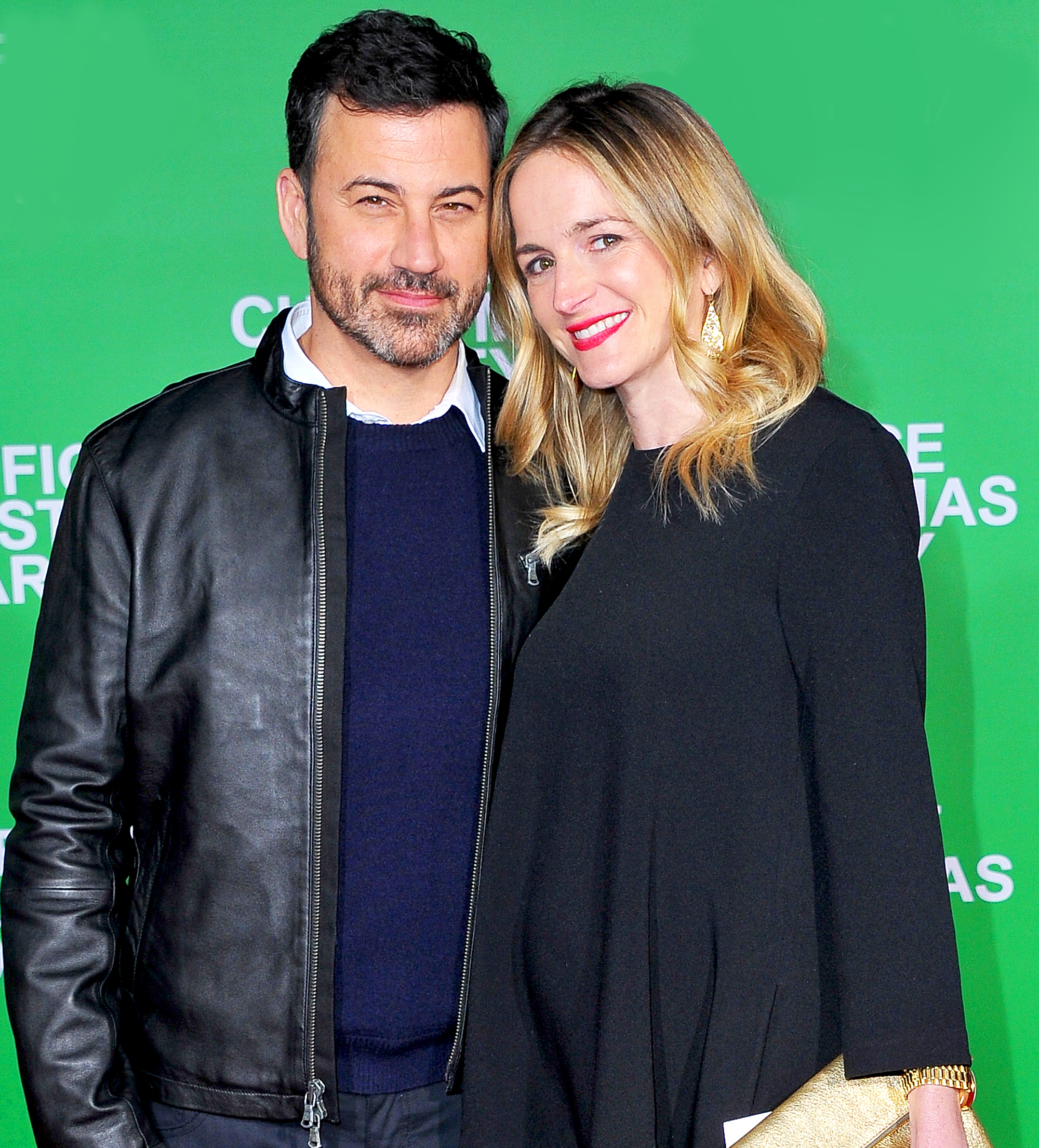Jimmy Kimmel and wife Molly McNearney attend the premiere of Office Christmas Party at Regency Village Theatre in Westwood, California.