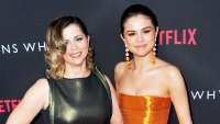 "Mandy Teefey and Selena Gomez attend the Premiere of Netflix's ""13 Reasons Why"" at Paramount Pictures on March 30, 2017 in Los Angeles, California."