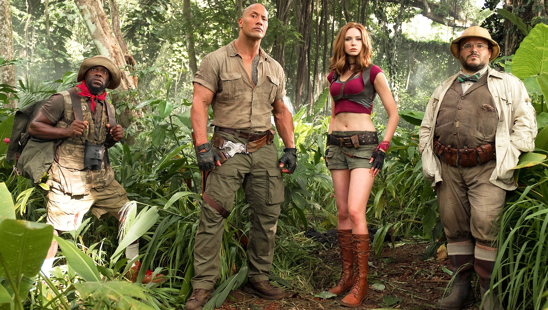 Kevin Hart, Dwayne Johnson, Karen Gillan and Jack Black in Jumanji: Welcome To The Jungle