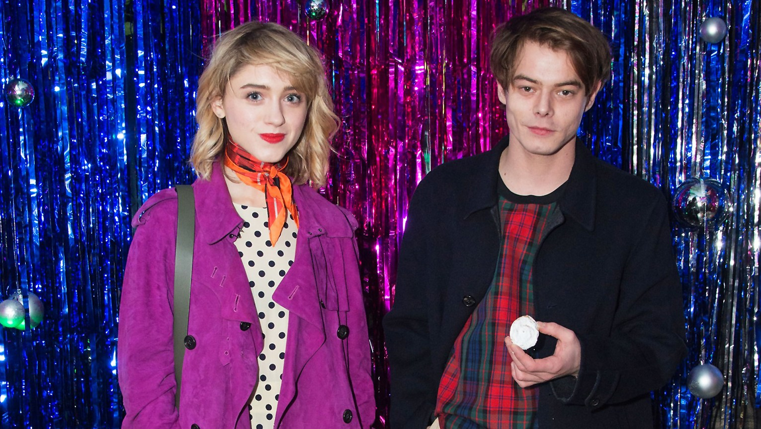 Natalia Dyer, Charlie Heaton, Netflix, Stranger Things, Couple, Burberry x Cara Delevingne Christmas Party