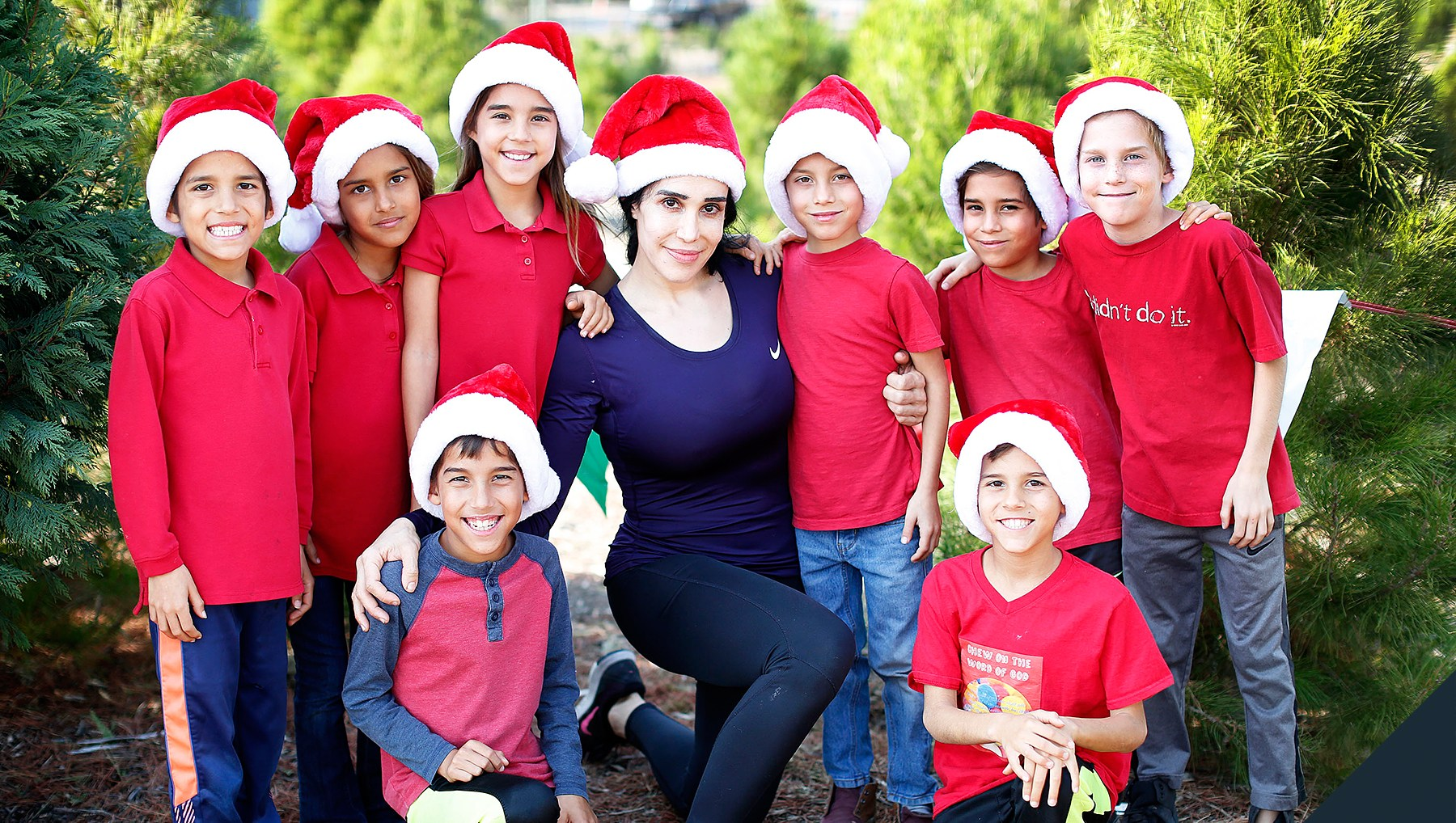 Natalie 'Octomom' Suleman takes her octuplets to shop for a Christmas tree near their home in Laguna Niguel, CA on December 17, 2017.