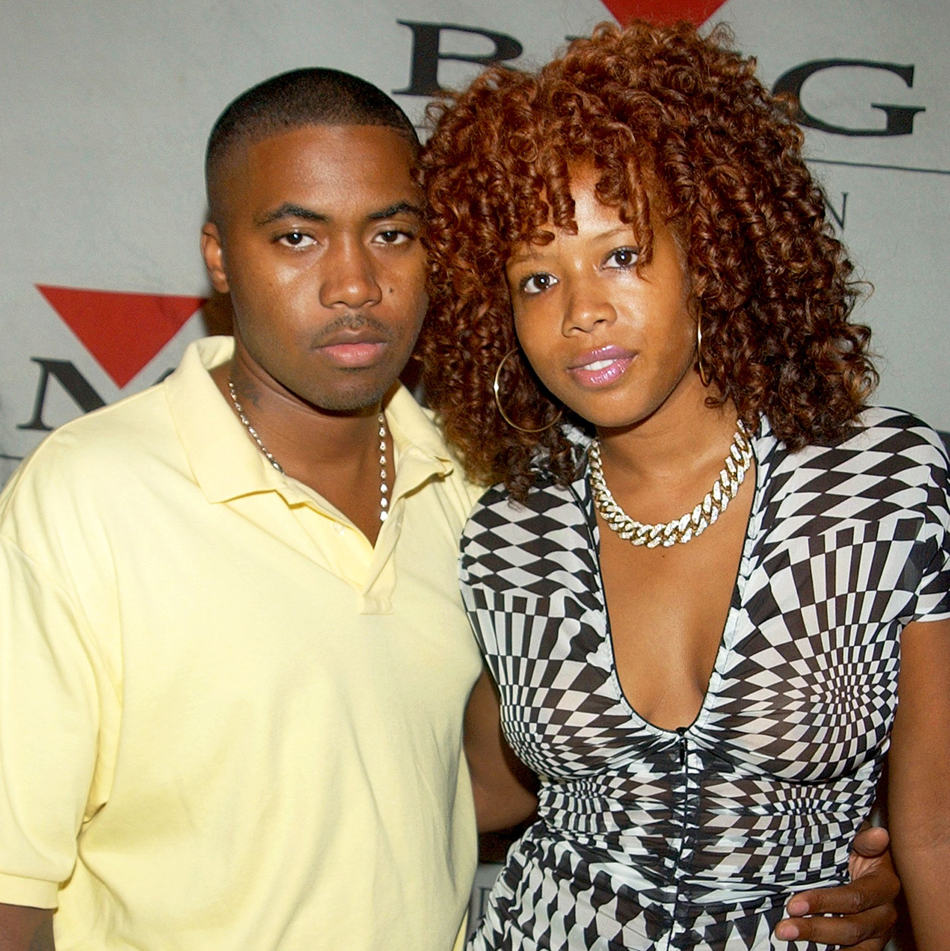 """Nas and Kelis attend the """"Arista Reloaded"""" at the 2003 BMG US Label Presentations Reception at Bryant Park Grill in New York City."""