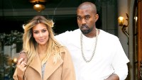 Kim Kardashian and Kanye West are seen on the 'Avenue Montaigne' on September 28, 2013 in Paris, France.