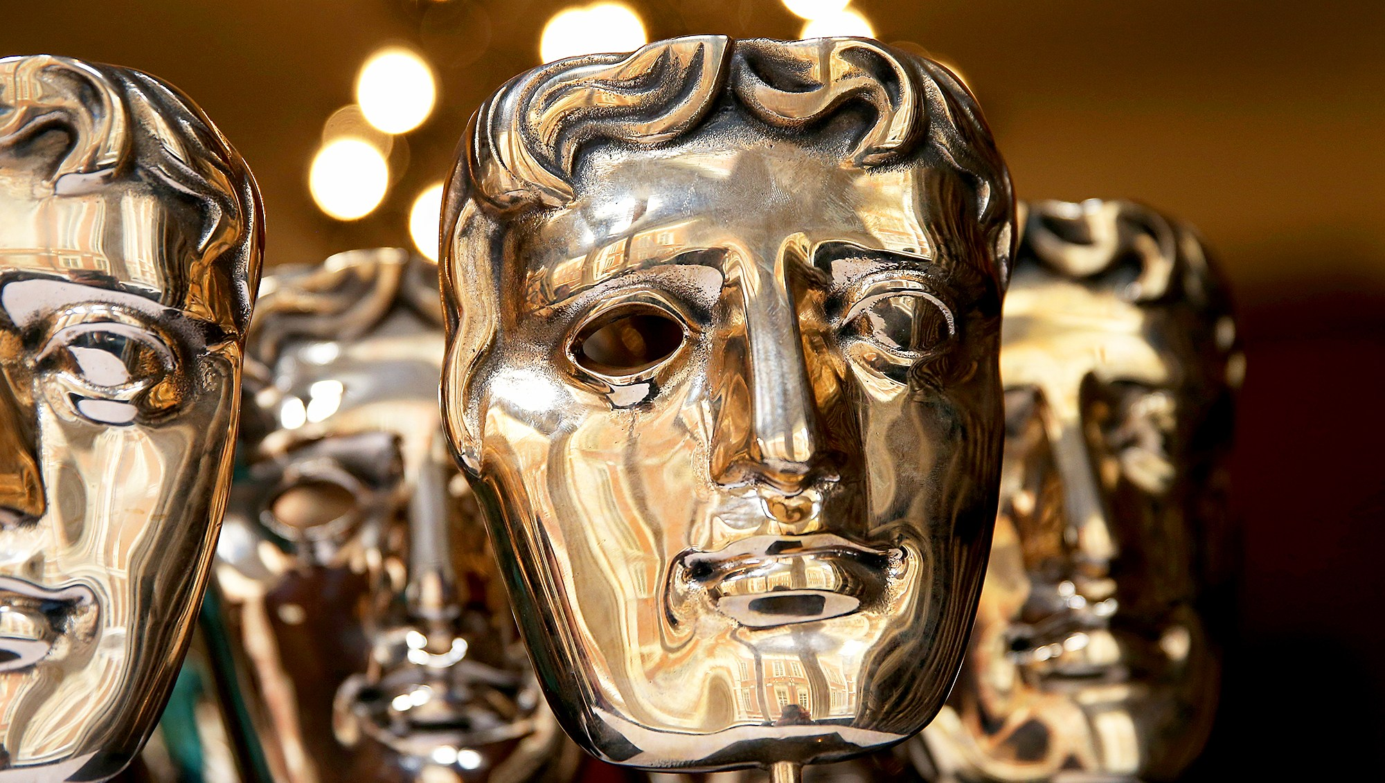 The iconic BAFTA mask awards sit ready to be polished at the Savoy Hotel ahead of the British Academy Film Awards in London, England.