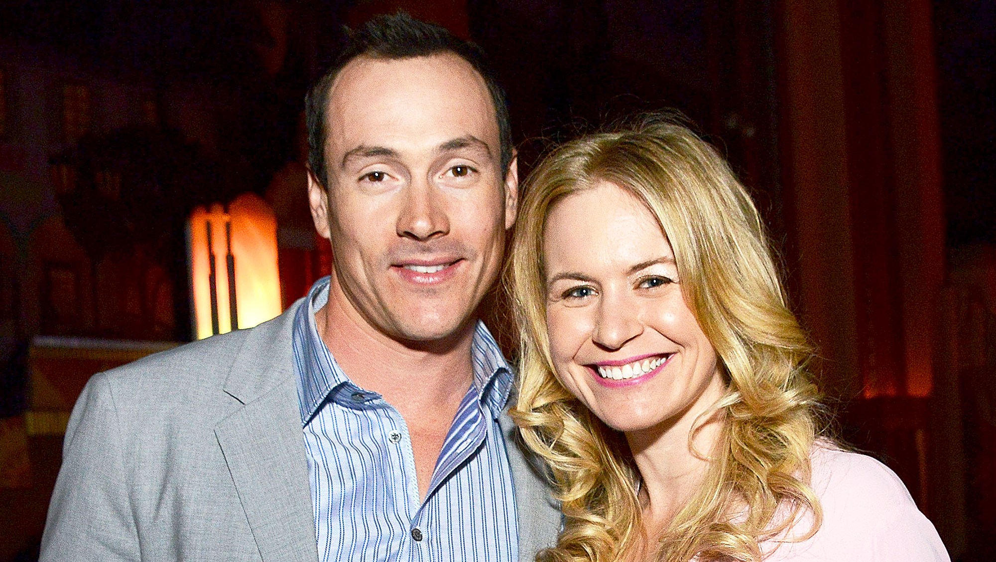 Chris Klein and his wife Laina Rose Thyfault attend the Screen Media Films' 2014 premiere of 'Authors Anonymous' in Westwood, California.