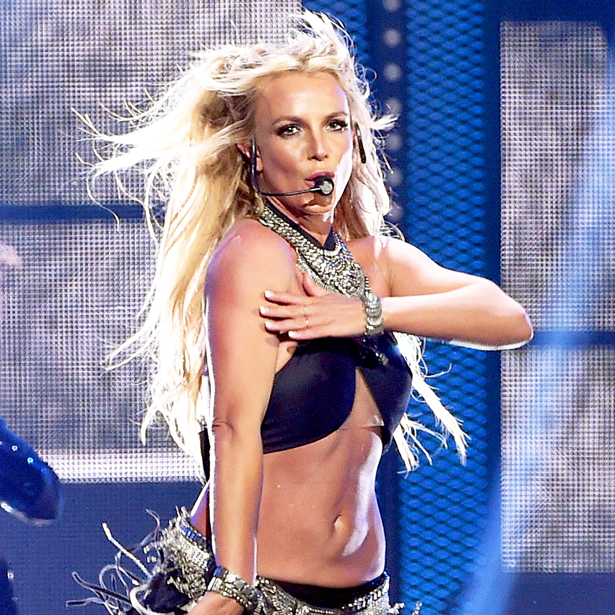 Britney Spears performs onstage at the arena in Las Vegas, Nevada.