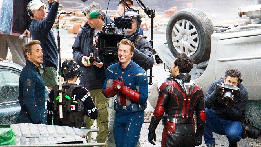 Robert Downey Jr Mark Ruffalo Chris Evans Paul Rudd filming Avengers 4