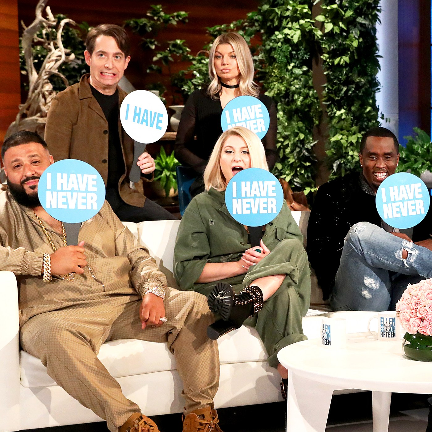 """'The Four: The Battle for Stardom' judges Sean """"Diddy"""" Combs, DJ Khaled, Meghan Trainor, music executive Charlie Walk, and host Fergie make an appearance on 'The Ellen DeGeneres Show'"""