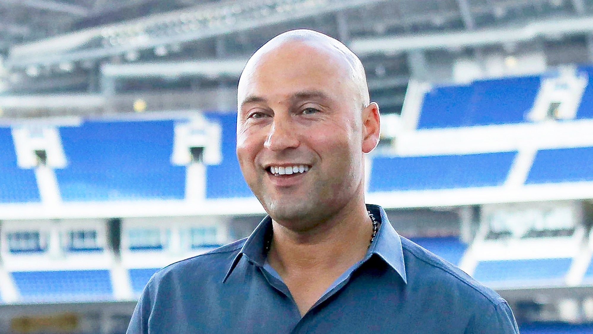 Derek Jeter attends a press conference at Marlins Park in Miami on February 13, 2018.
