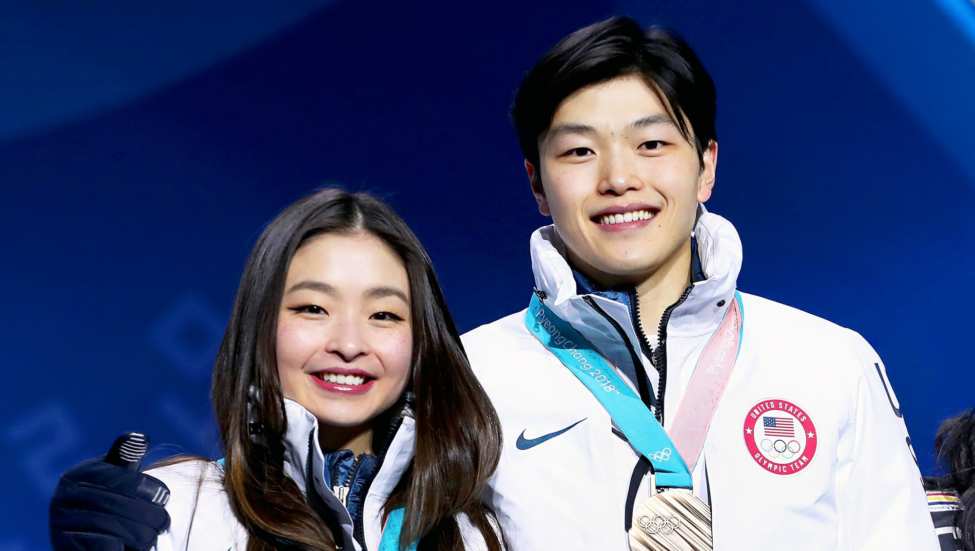 Bronze medalists Maia Shibutani and Alex Shibutani of the United States celebrate during the medal ceremony for Figure Skating - Ice Dance Free Dance on day 11 of the PyeongChang 2018 Winter Olympic Games on February 20, 2018 in Pyeongchang-gun, South Korea.