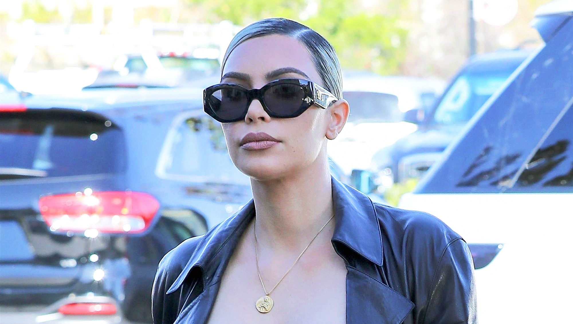 Kim Kardashian steps out for lunch while filming 'Keeping Up With The Kardashians' on February 8, 2018 in Los Angeles, California.