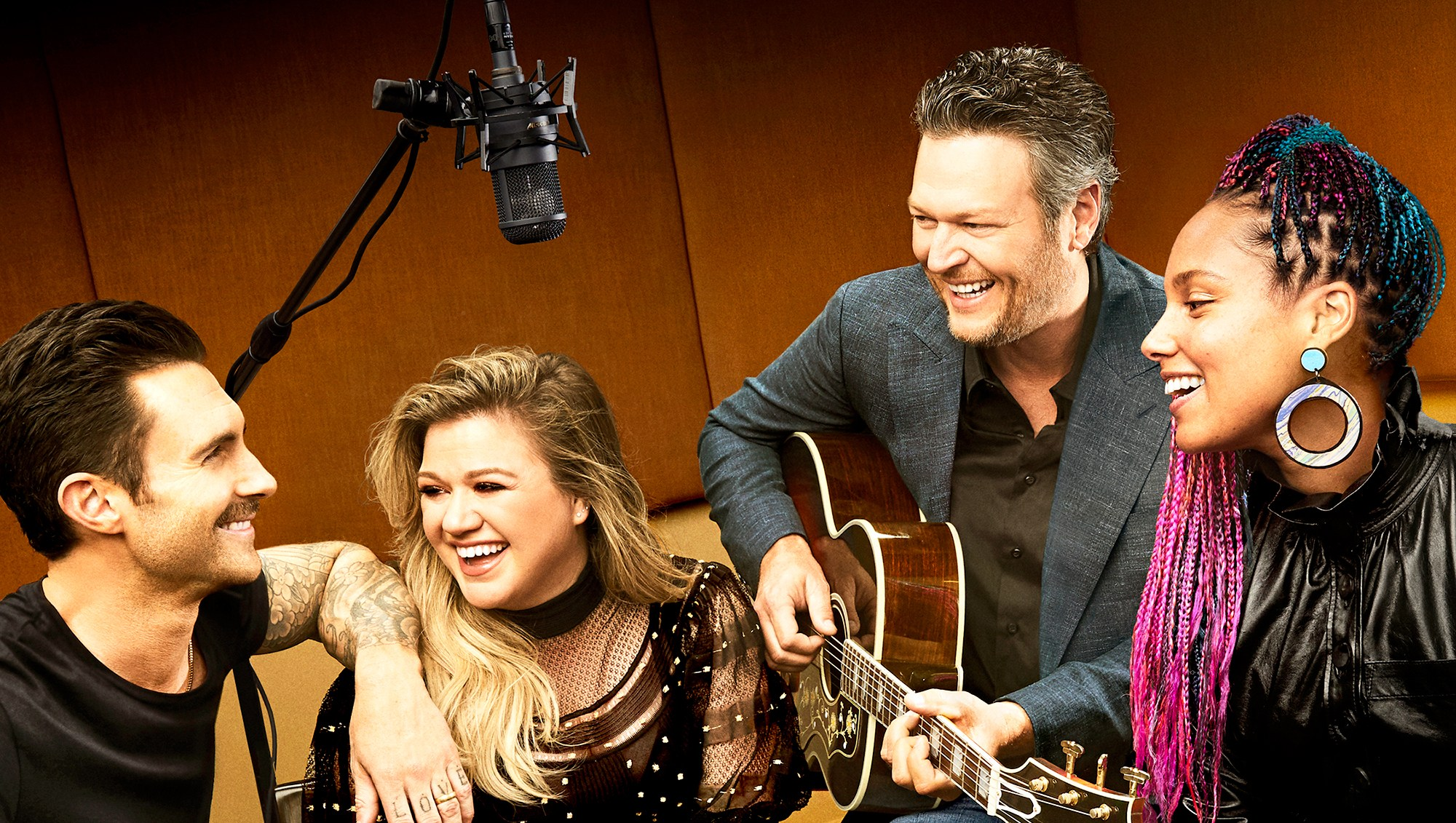 Adam Levine, Kelly Clarkson, Blake Shelton and Alicia Keys on 'The Voice'