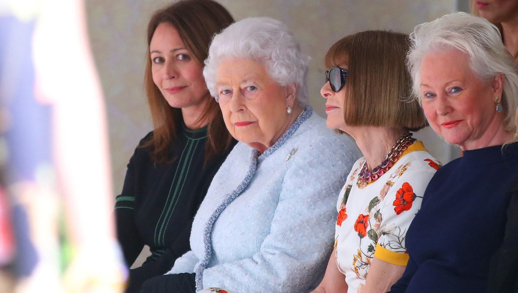Queen Elizabeth II attends the Richard Quinn show