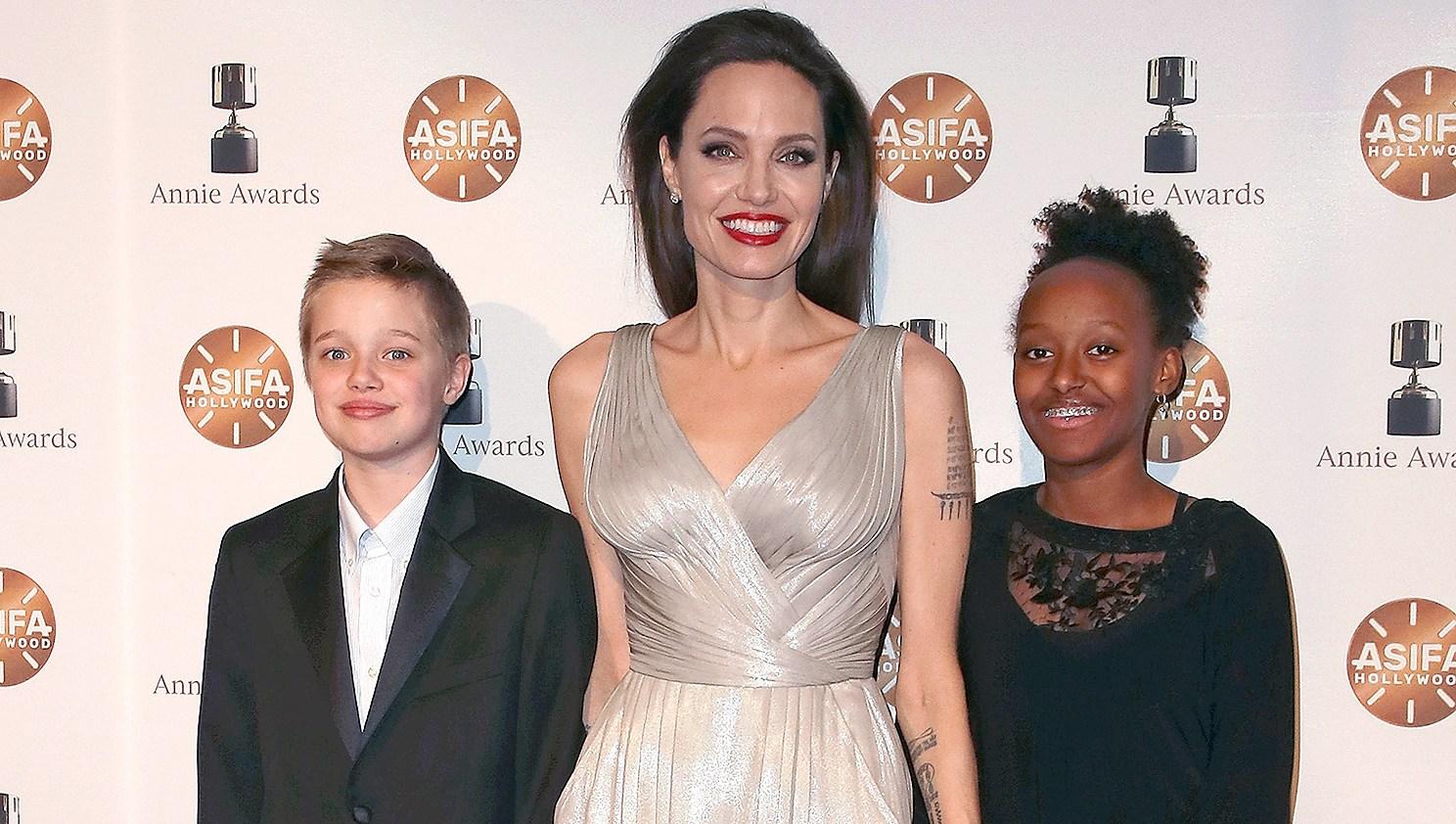 Shiloh Nouvel Jolie-Pitt, Angelina Jolie, Zahara Marley Jolie-Pitt, 45th Annual Annie Awards
