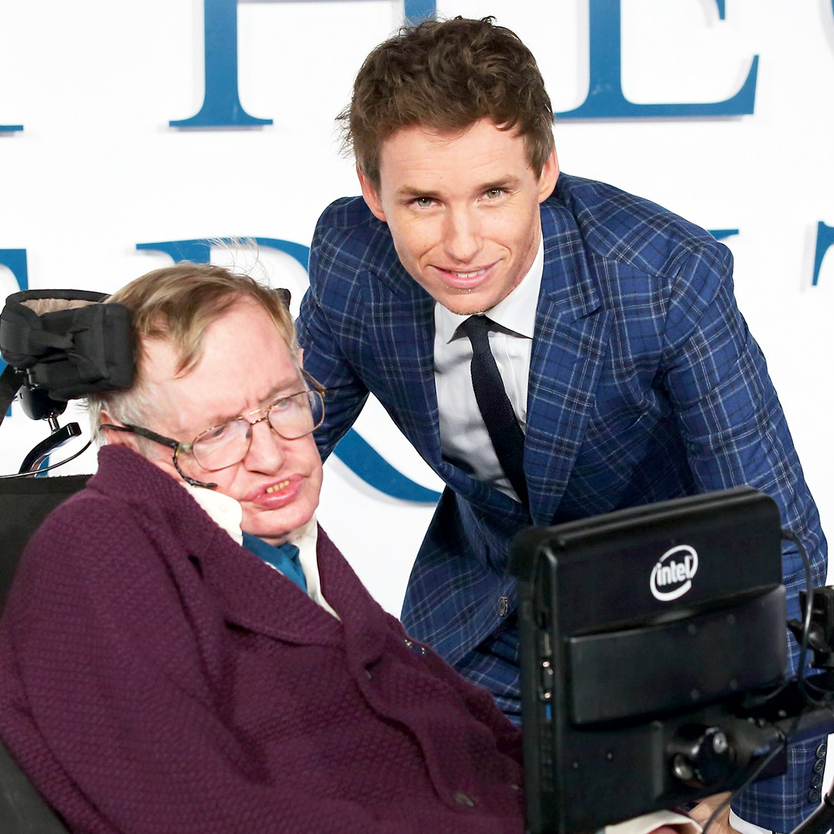 "Stephen Hawking and Eddie Redmayne attend the UK 2014 Premiere of ""The Theory Of Everything"" at Odeon Leicester Square in London, England."