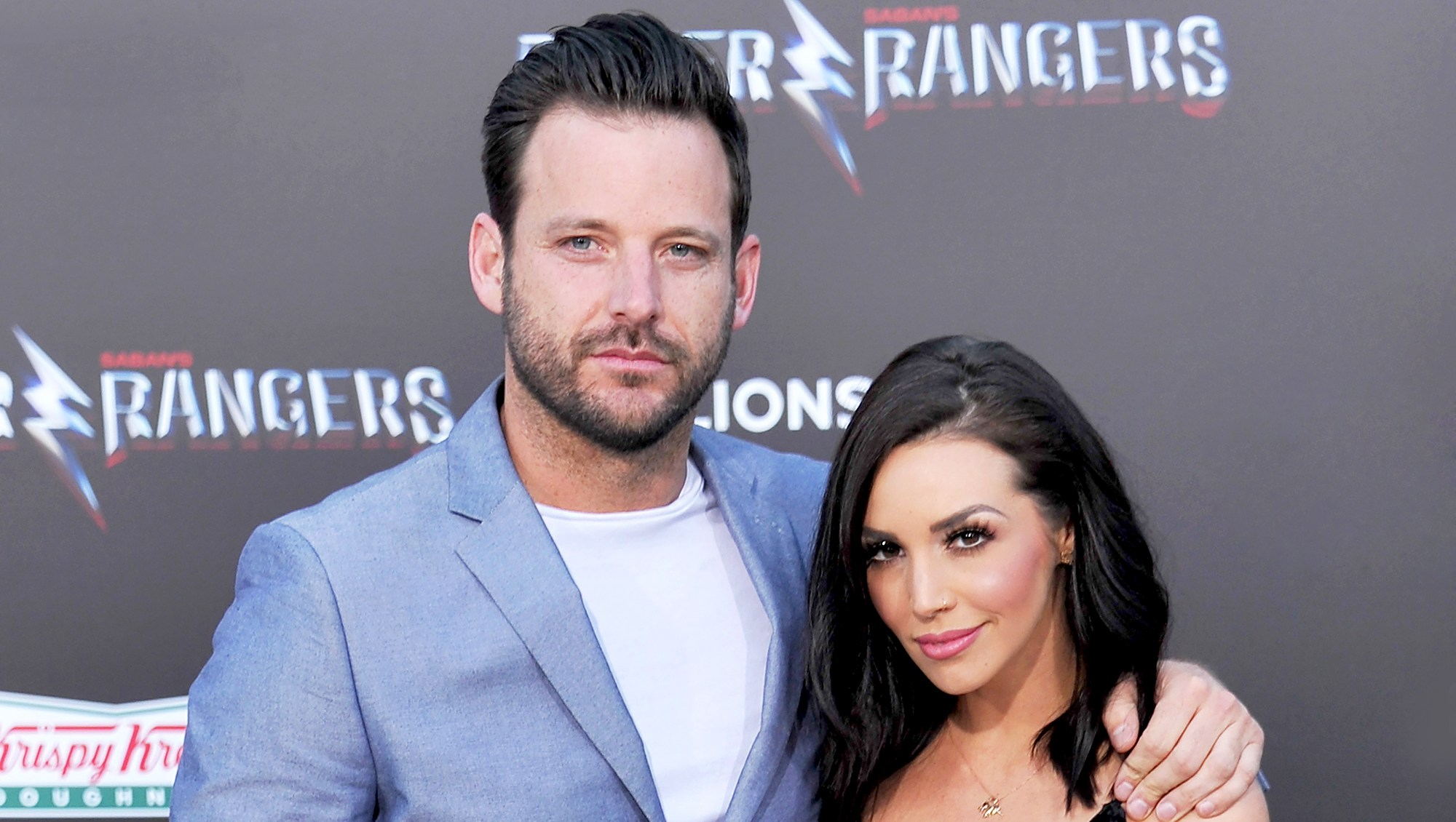 """Scheana Shay and Robert Valletta arrives at the 2017 premiere of Lionsgate's """"Power Rangers"""" at The Village Theatre in Westwood, California."""