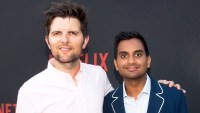 "Adam Scott and Aziz Ansari arrive for Netflix's ""Master Of None"" For Your Consideration 2017 event at Saban Media Center in North Hollywood, California."