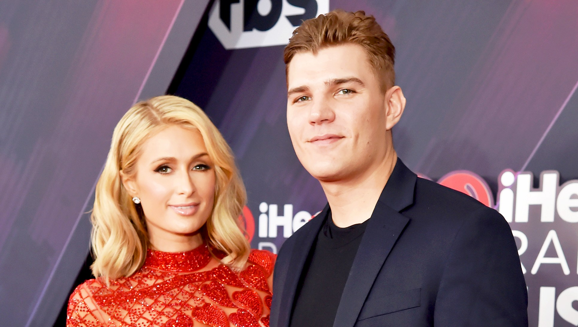 Paris Hilton and Chris Zylka arrive at the 2018 iHeartRadio Music Awards at The Forum in Inglewood, California.