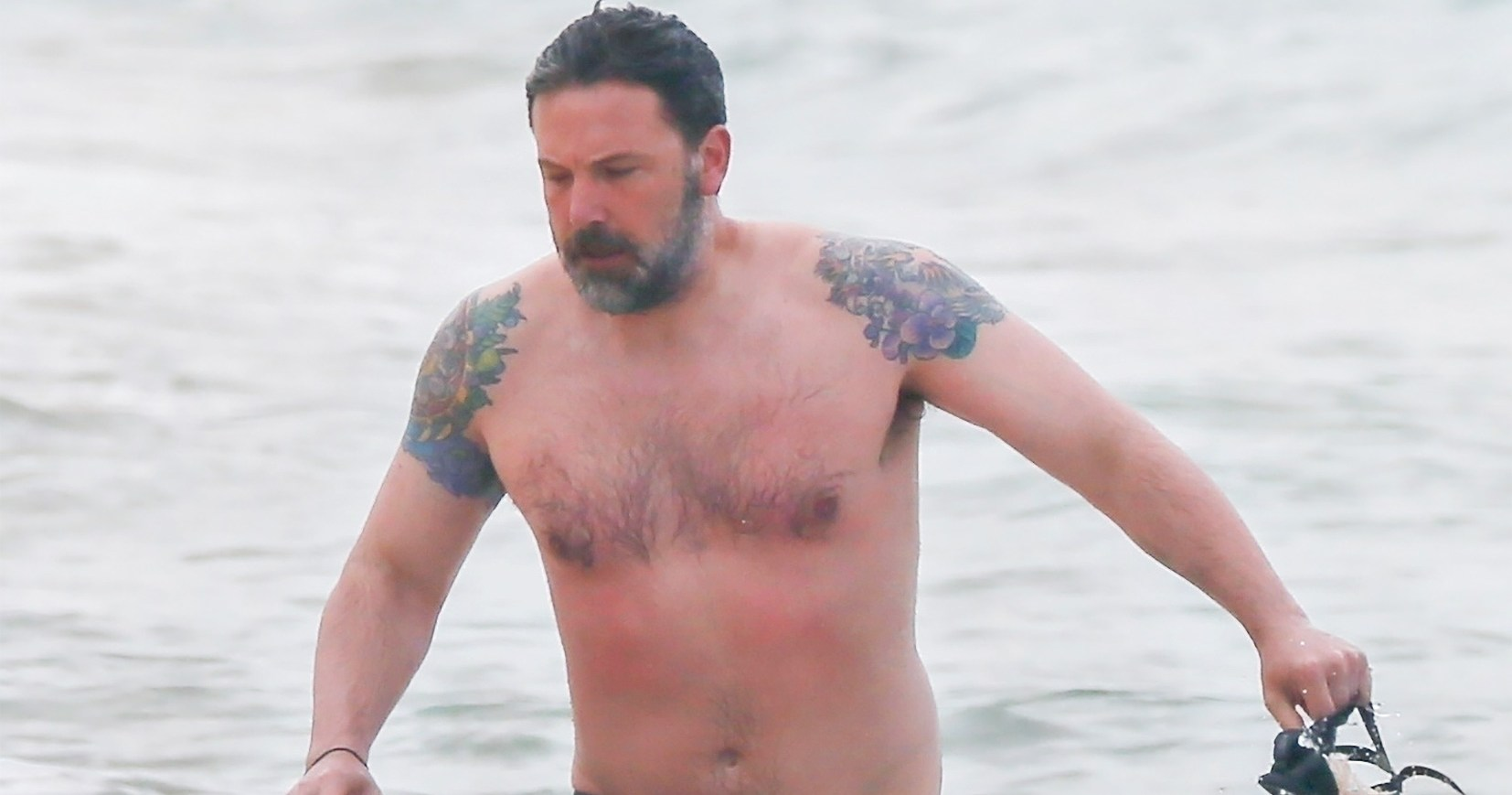 Ben Affleck Goes Shirtless, Reveals Massive Back Tattoo He Once Said Was Fake: Photos