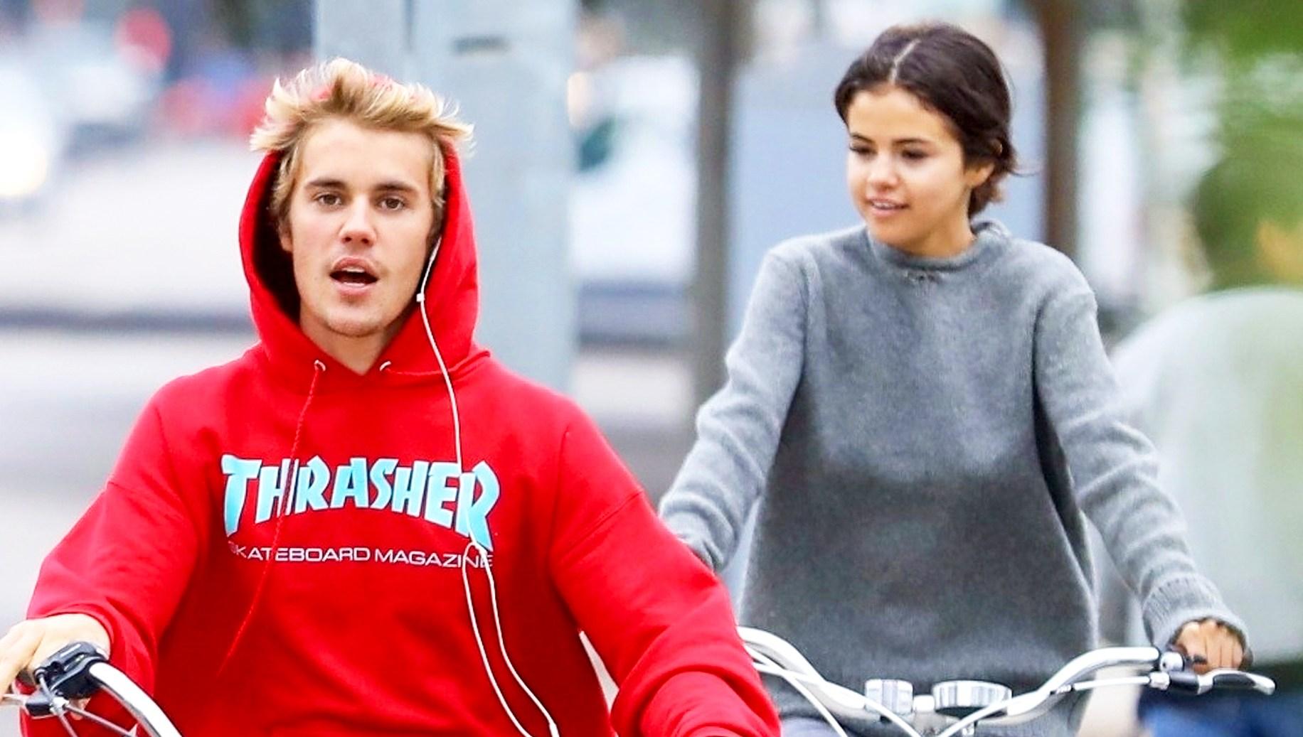 Justin Bieber and Selena Gomez ride bikes in Los Angeles on November 1, 2017.