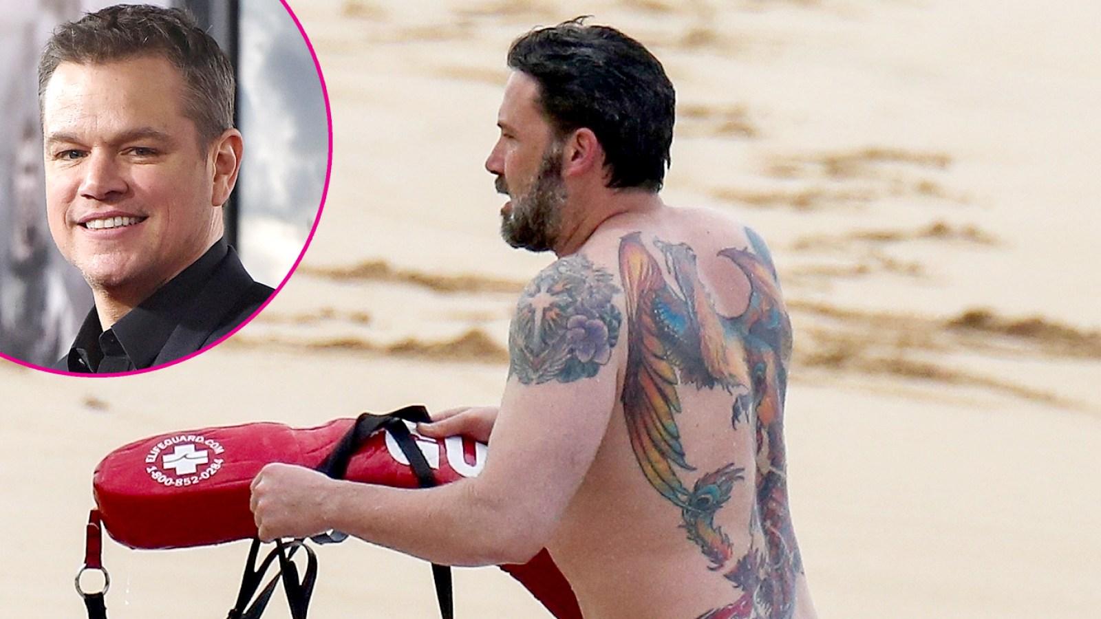 50e87188e90ee Matt Damon Reacts to His BFF Ben Affleck's Massive Back Tattoo