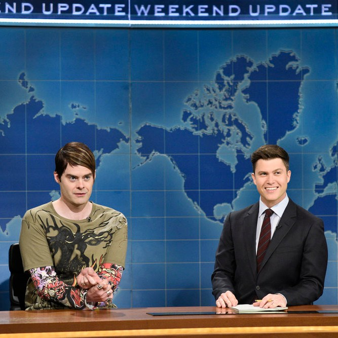 Bill Hader as Stefon and Colin Jost on Saturday Night Live's 'Weekend Update,' March 17, 2018