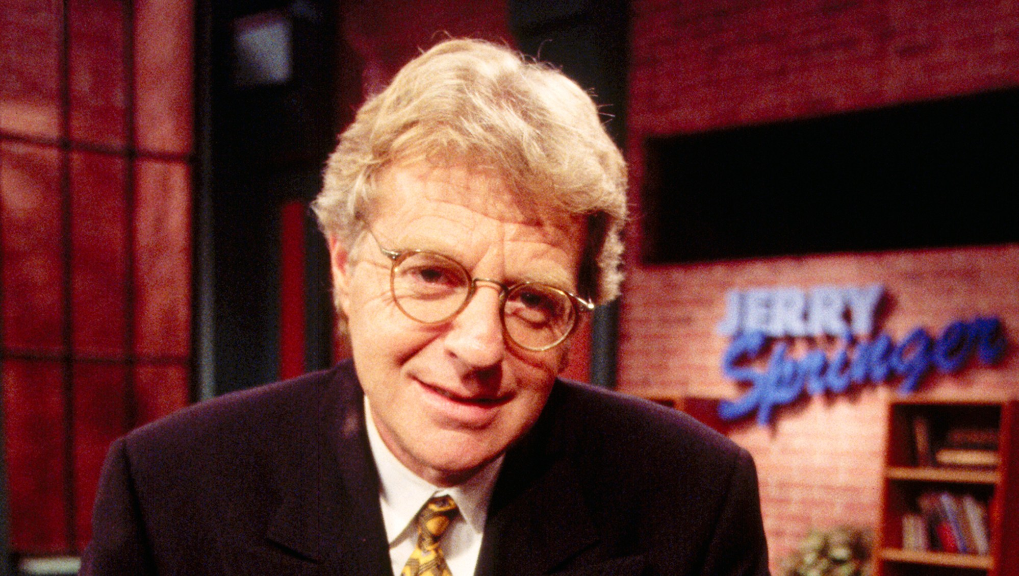 Jerry Springer on the set of his TV program 'The Jerry Springer Show'