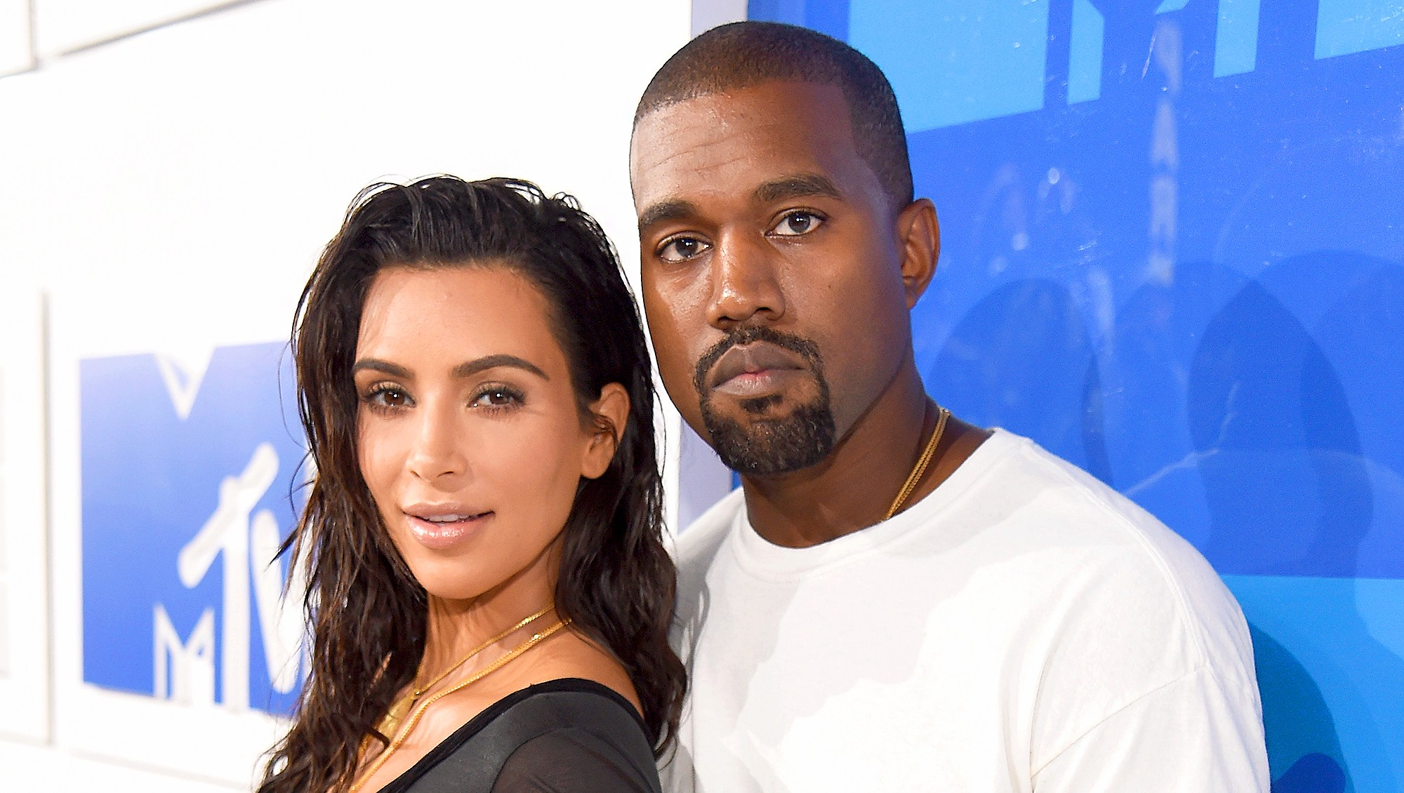 Kim Kardashian and Kanye West attends the 2016 MTV Video Music Awards in New York City.