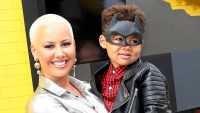 "Amber Rose and son Sebastian attend the 2017 Premiere of Warner Bros. Pictures' ""The LEGO Batman Movie"" at the Regency Village Theatre in Westwood, California."