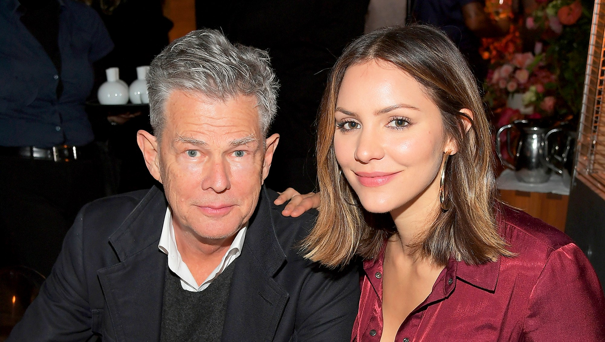 David Foster and Katharine McPhee attend Bumble Bizz Los Angeles Launch Dinner At Nobu Malibu at Nobu Malibu on November 15, 2017 in Malibu, California.
