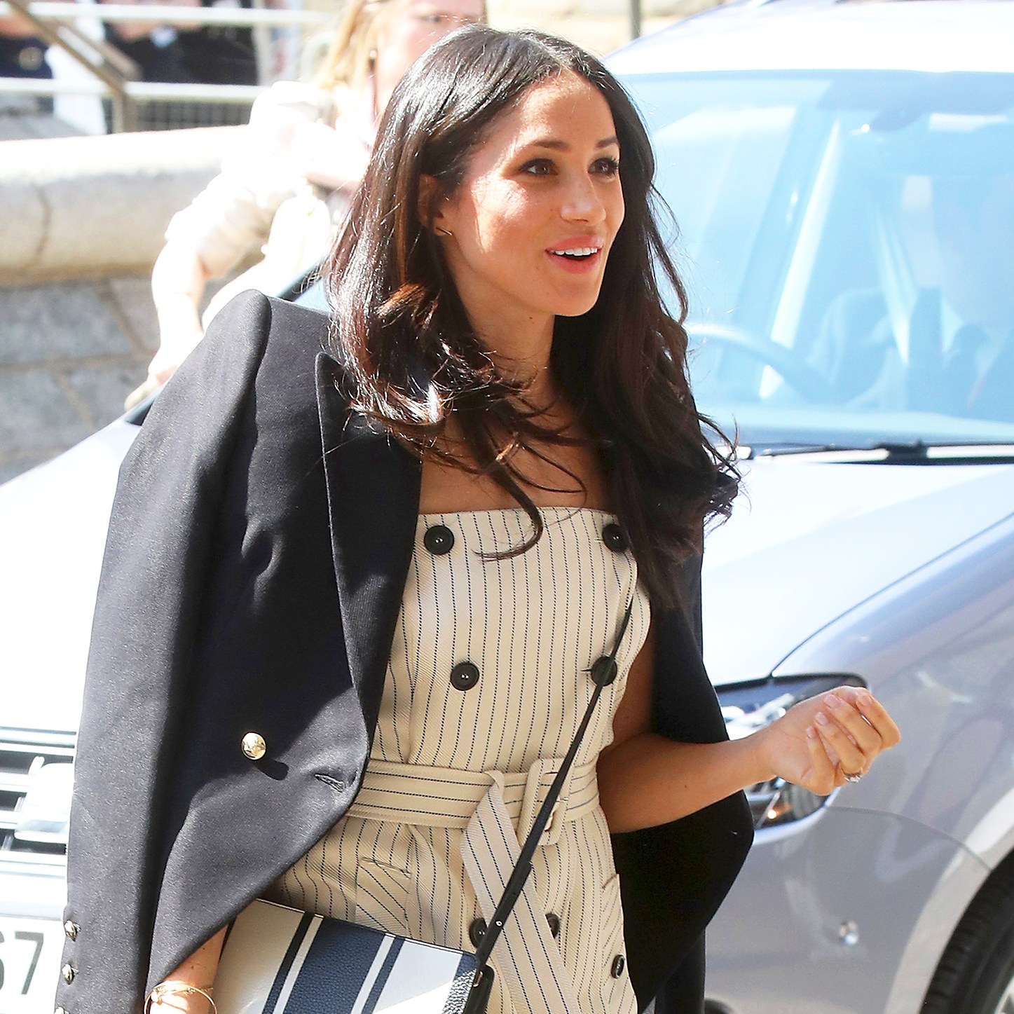 Meghan Markle arrive to attend a reception with delegates from the Commonwealth Youth Forum in central London on April 18, 2017.