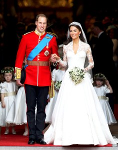 Prince William and Kate Middleton smile following their marriage at Westminster Abbey on April 29, 2011 in London, England.
