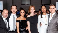 "Rick Hoffman, Patrick J. Adams, Meghan Markle, Sarah Rafferty, Gina Torres and Gabriel Macht of Suits attend 2012 USA Network and Mr Porter.com Present ""A Suits Story"" in New York City."