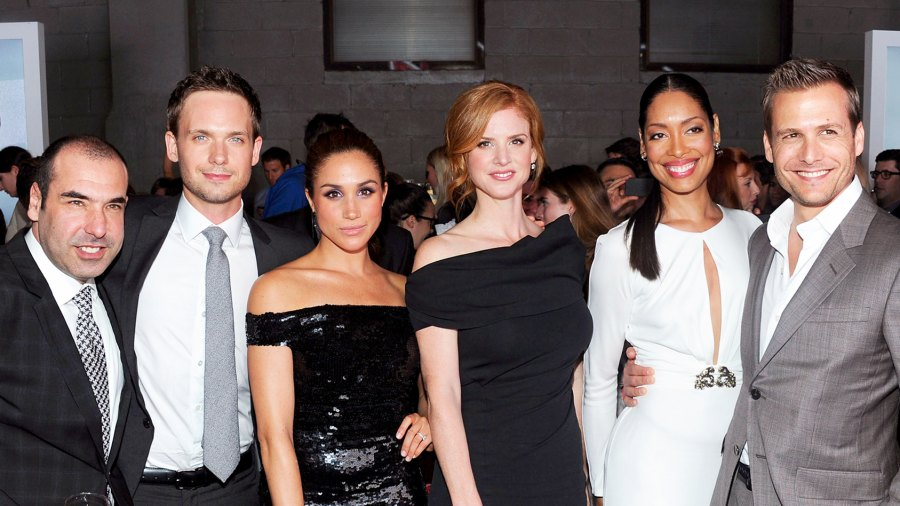 """Rick Hoffman, Patrick J. Adams, Meghan Markle, Sarah Rafferty, Gina Torres and Gabriel Macht of Suits attend 2012 USA Network and Mr Porter.com Present """"A Suits Story"""" in New York City."""