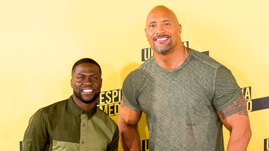 Kevin Hart and Dwayne 'The Rock' Johnson attend 2016 Central Intelligence photocall at Villamagna Hotel in Madrid, Spain.