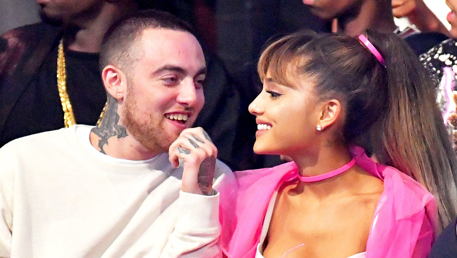 Mac Miller and Ariana Grande attend the 2016 MTV Video Music Awards at Madison Square Garden in New York City.