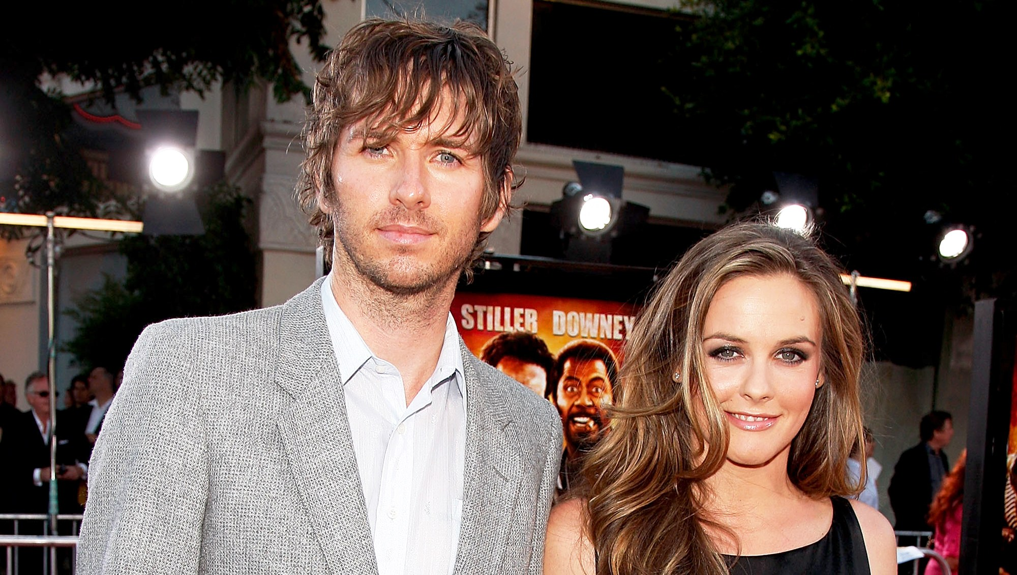 """Christopher Jarecki and Alicia Silverstone arrive at the 2008 Los Angeles Premiere of """"Tropic Thunder"""" at the Mann's Village Theater in Los Angeles, California."""