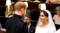 Prince Harry and Meghan Markle exchange vows during their wedding ceremony in St. George's Chapel at Windsor Castle on May 19, 2018 in Windsor, England.
