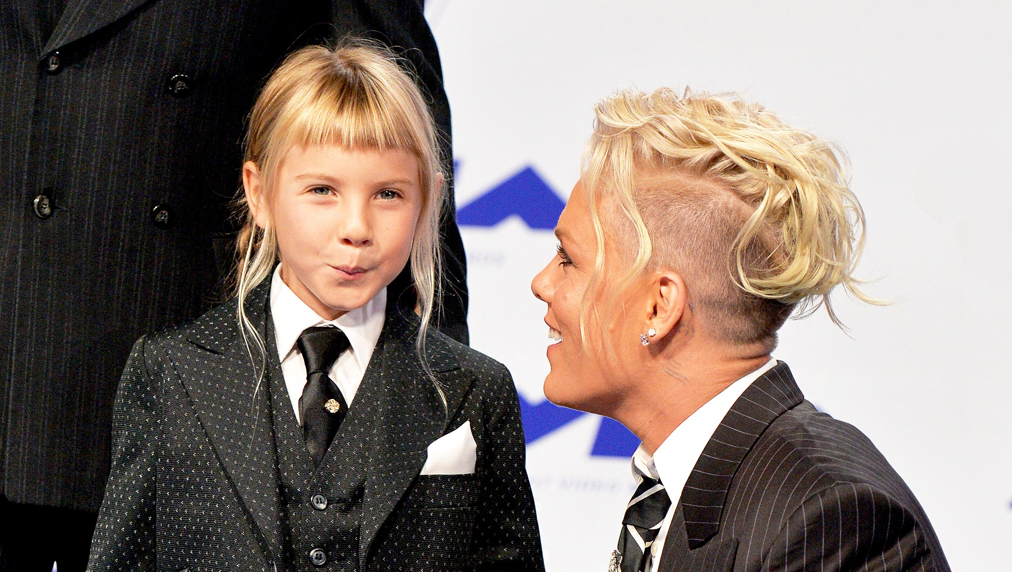 Pink and daughter Willow arrive at the 2017 MTV Video Music Awards at The Forum in Inglewood, California.