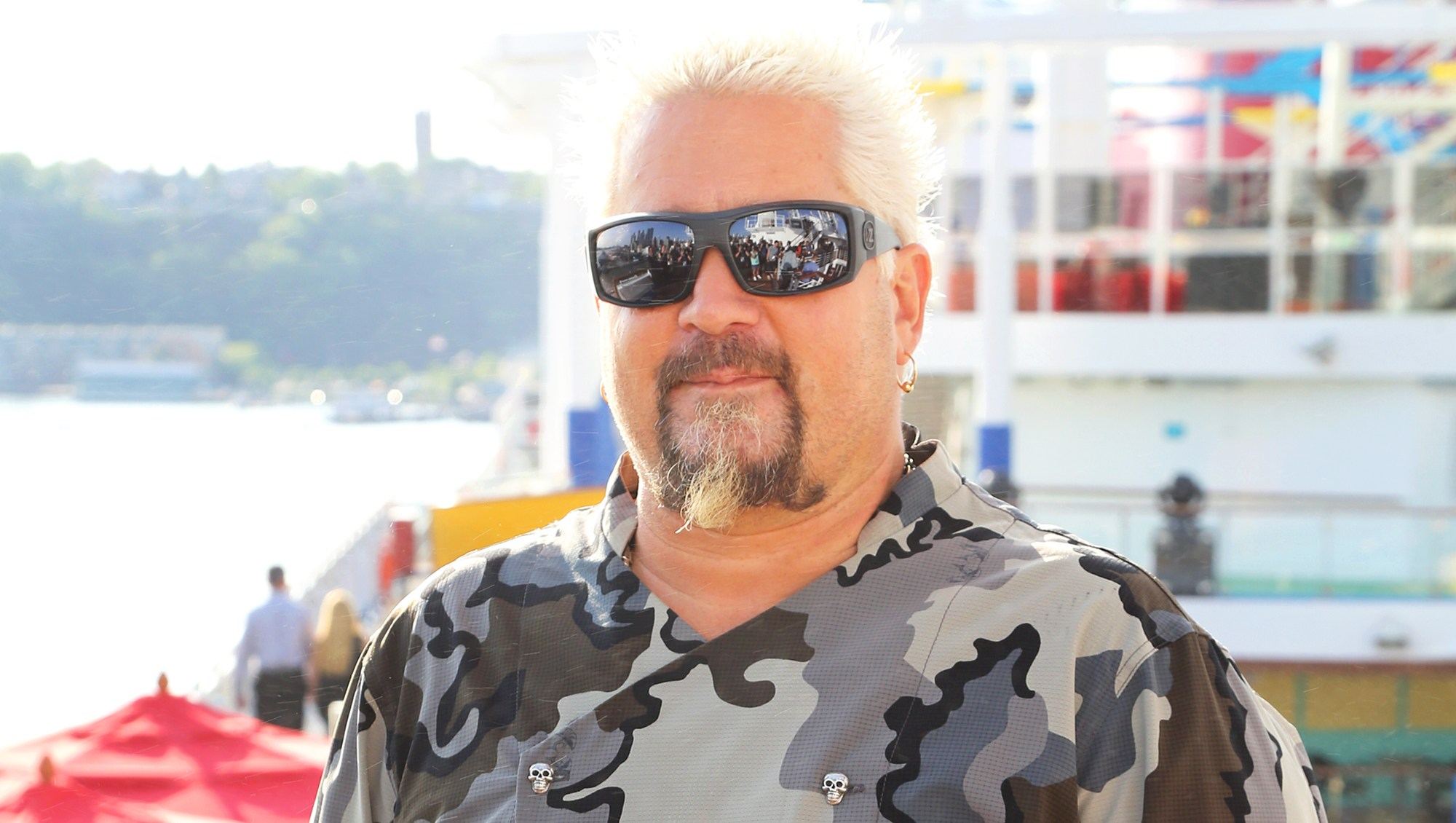 Guy Fieri attends Carnival Horizon naming ceremony event at Pier 88 on May 23, 2018 in New York City.