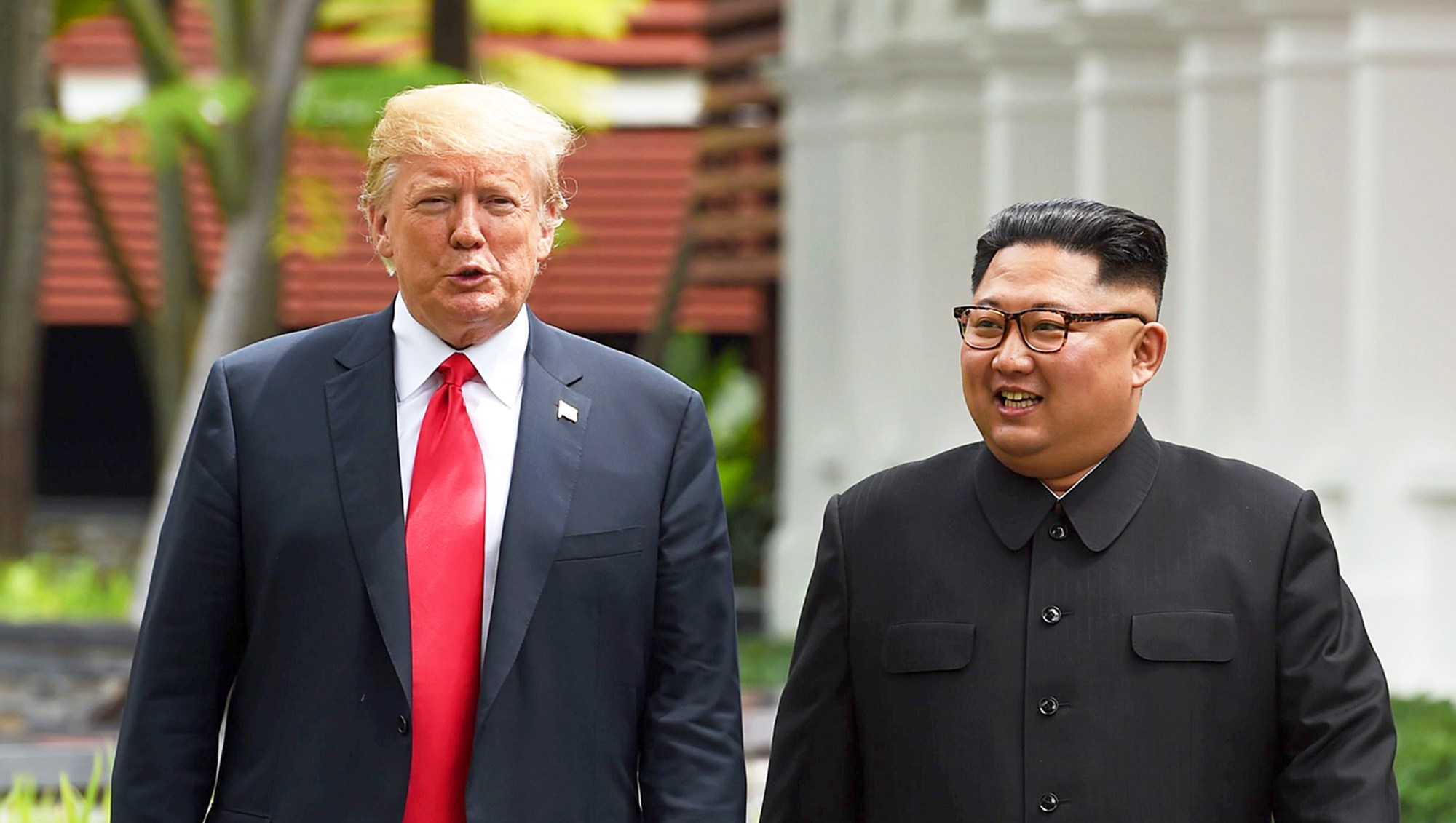 Donald Trump and Kim Jong Un during their historic US-North Korea summit at the Capella Hotel on Sentosa island in Singapore on June 12, 2018.