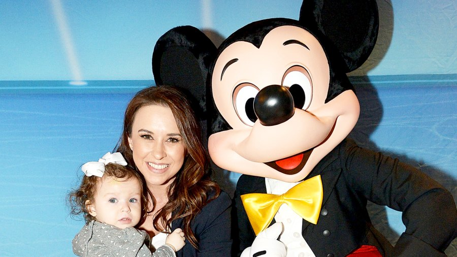 Lacey Chabert with her daughter Julia and Mickey Mouse attend 2017 Disney On Ice: Follow Your Heart at Staples Center in Los Angeles, California.