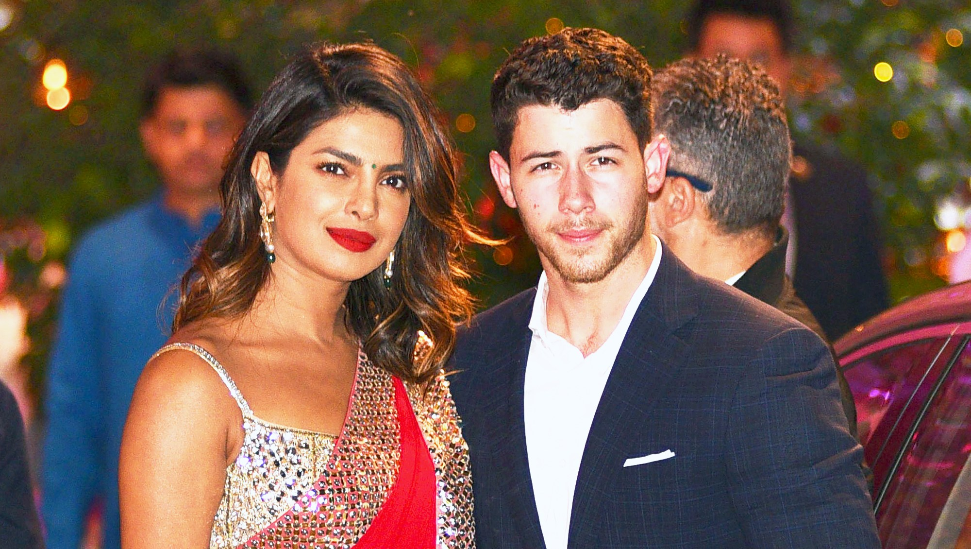 Priyanka Chopra and Nick Jonas arrive for the pre-engagement party in India on June 28, 2018.