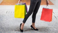shopping bags jeans and heels fashion