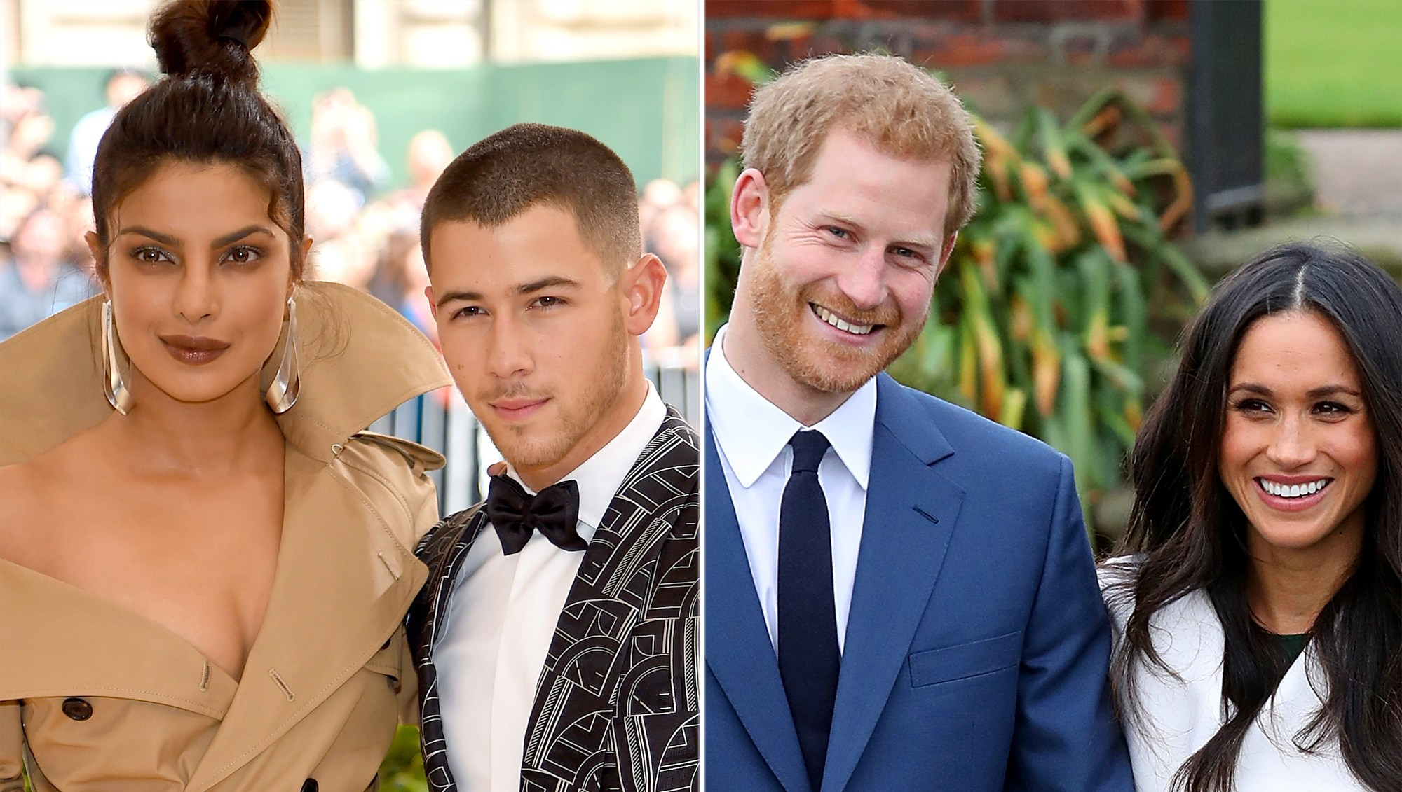 Priyanka Chopra and Nick Jonas with Prince Harry and Meghan Markle