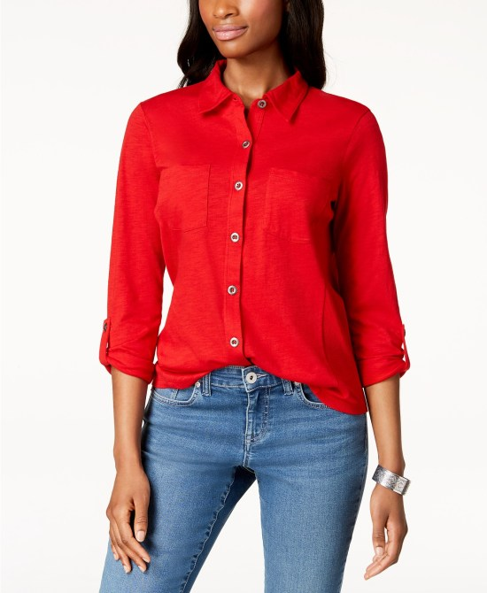 red button down shirt blouse