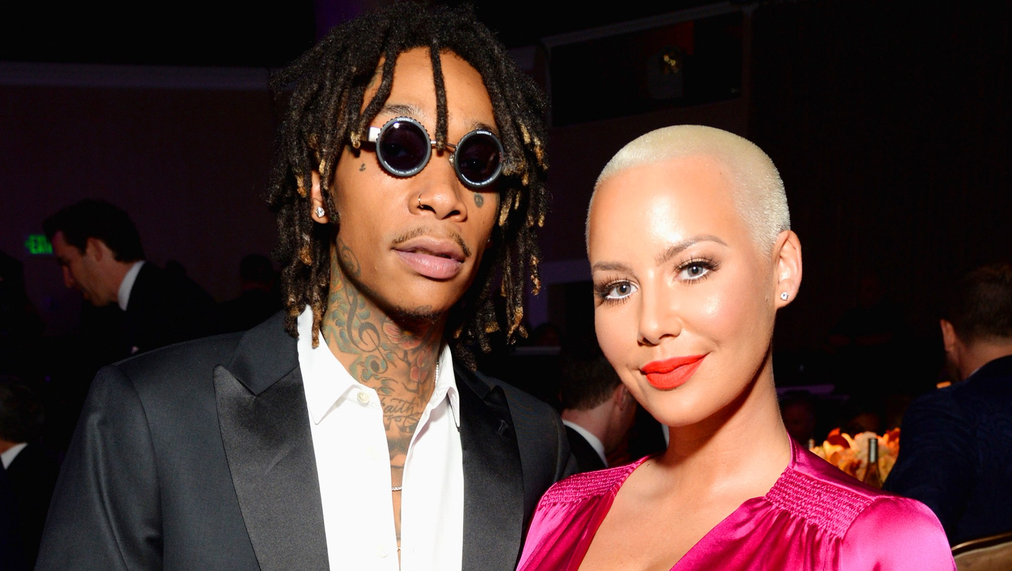 Recording artist Wiz Khalifa (L) and model-TV personality Amber Rose