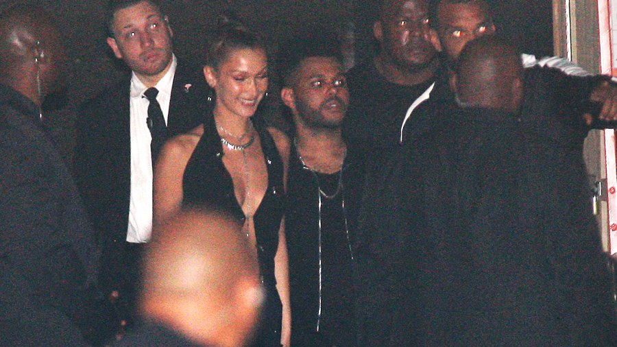 Bella Hadid and The Weeknd are spotted leaving from the back of the Delilah club after celebrating Kylie Jenner's 21st birthday party in West Hollywood on August 10, 2018.