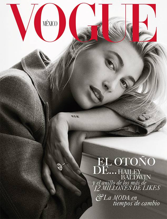 Hailey Baldwin Debuts Engagement Ring On Vogue Mexico Cover