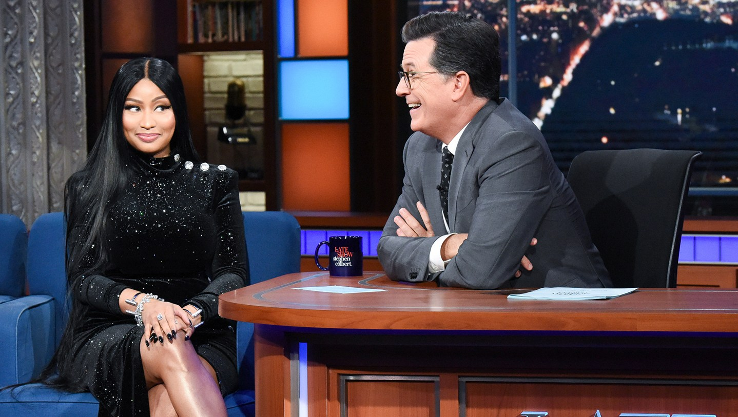 The Late Show with Stephen Colbert and guest Nicki Minaj during Monday's August 13, 2018 show.